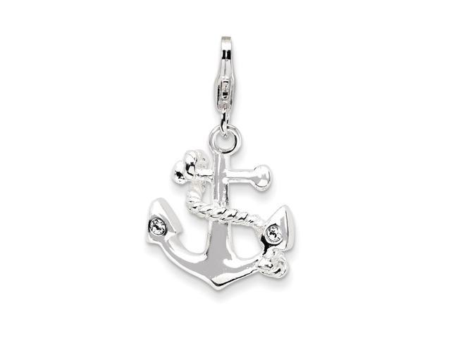 Sterling Silver Rhodium Plated 3-D Enameled Anchorwith Lobster Clasp Charm (0.7in)