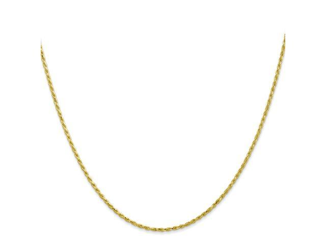 10k Yellow Gold 16in 1.5mm Machine Made D/C Rope Necklace Chain