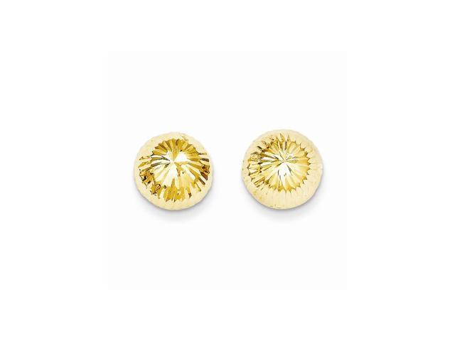 14k Yellow Gold Childs Polished & D/C 10mm Button Post Earrings w/ Gift Box