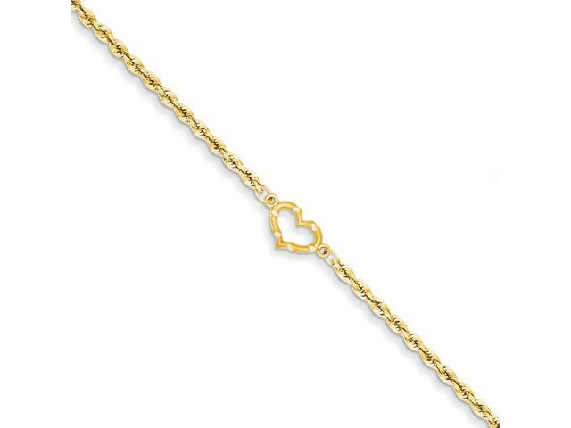 14k Yellow Gold 10in Open Heart Rope Anklet
