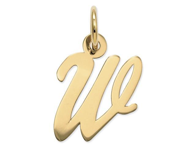 14k Yellow Gold Small Script Initial W Charm (0.7IN long x 0.4IN wide)