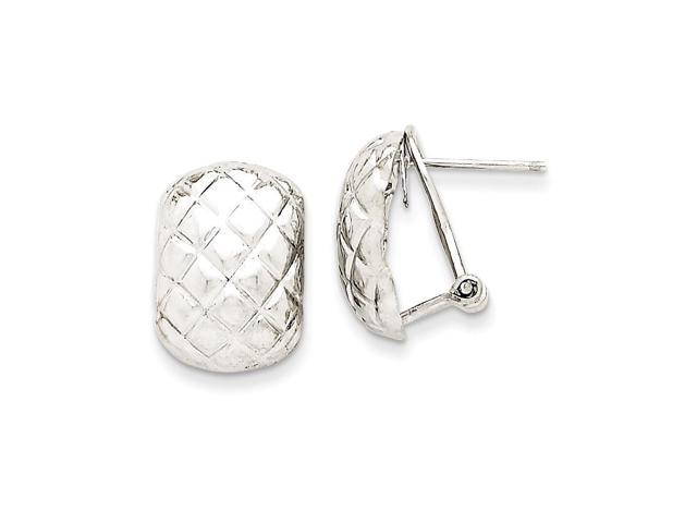 14k White Gold Polished Quilted Omega Back Post Earrings (0.6IN x 0.4IN )
