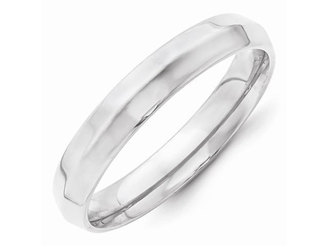 14k White Gold Engravable 4mm Knife Edge Wedding Band
