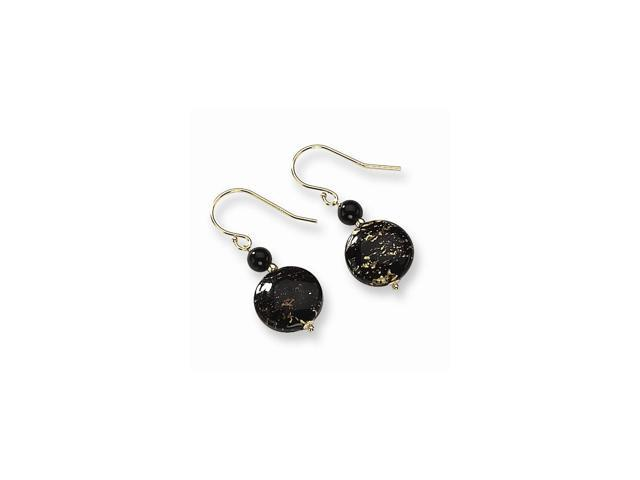14k Yellow Gold Murano Glass Bead & Onyx Wire Earrings (1.1IN x 0.4IN )