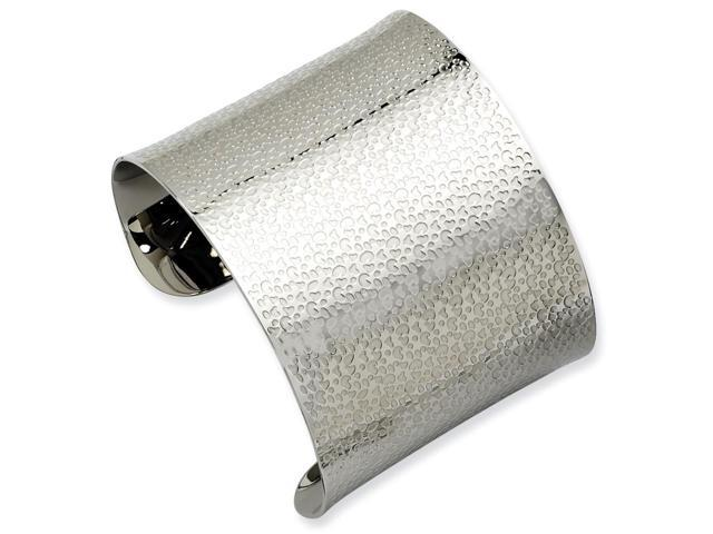 Stainless Steel 7in Textured Cuff Bangle