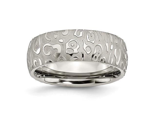 Titanium Satin & Polished Textured 8mm Engravable Band