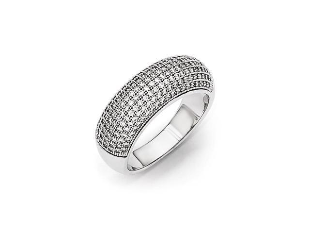 Sterling Silver Rhodium Plated & Synthetic CZ Embers Polished Ring