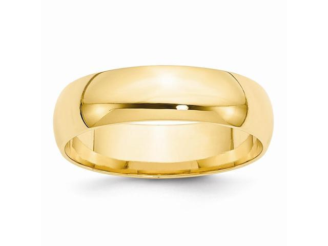 14k Yellow Gold Engravable 6mm Light-Weight Comfort-Fit Wedding Band