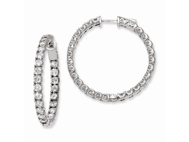 Sterling Silver Rhodium Plated with Synthetic CZ 1.25IN Hinged Hoop Earrings (1.2IN x 1.2IN )