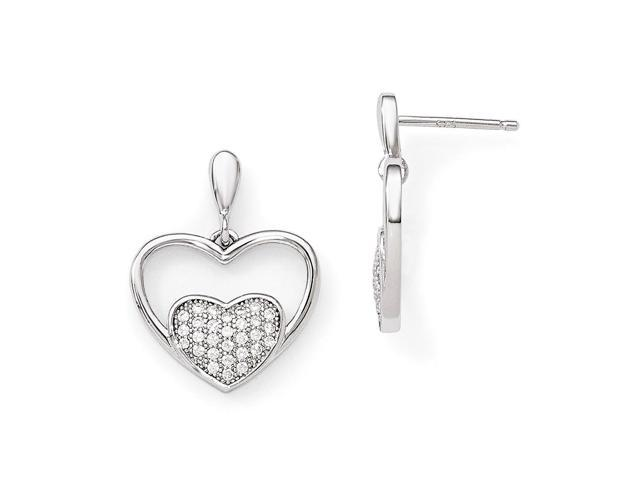 Sterling Silver Rhodium Plated & Synthetic CZ Brilliant Embers Dangle Heart Post Earrings (0.6IN x 0.5IN )