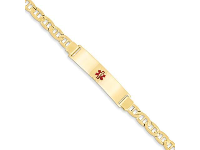 14k Yellow Gold Engravable 7in Polished Medical Jewelry ID Bracelet (Plate: 1.5in x0.4in)