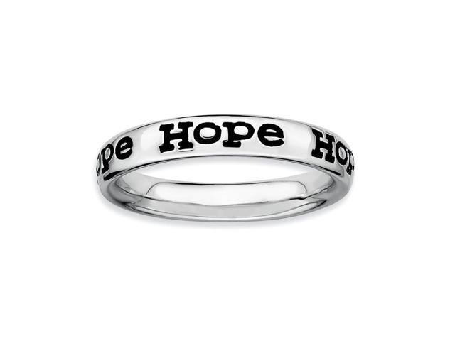 Charming 925 Sterling Silver Rhodium Plated Stackable Enameled Hope Ring