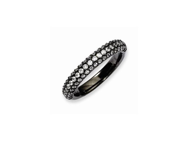 Sterling Silver Black Plated with Synthetic CZ RIng