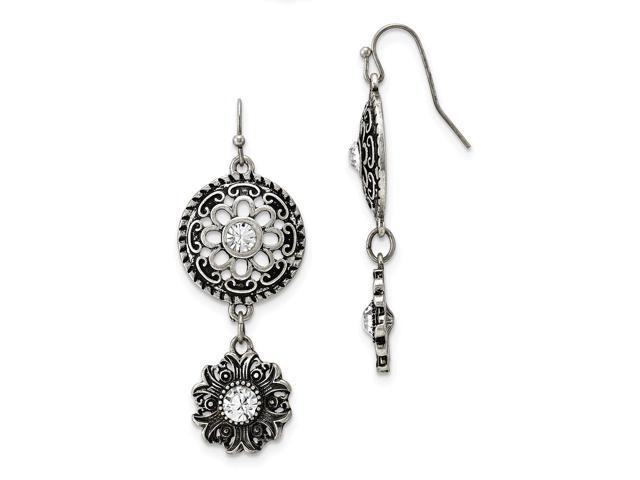 Silvertone Double Drop Floral with Clear Crystal Dangle Earrings
