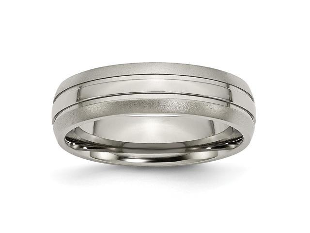Titanium Grooved 6mm Brushed and Polished Engravable Band