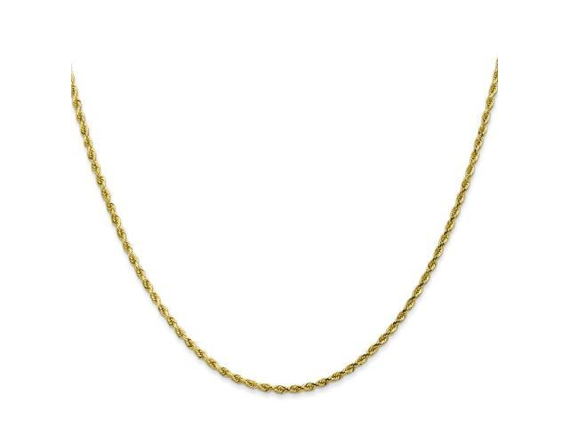 10k Yellow Gold 8in 2mm Handmade D/C Rope Chain Bracelet