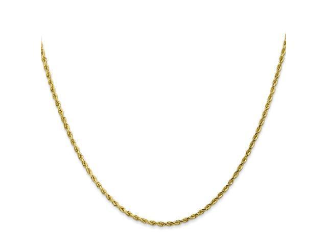 10k Yellow Gold 7in 2mm Handmade D/C Rope Chain Bracelet