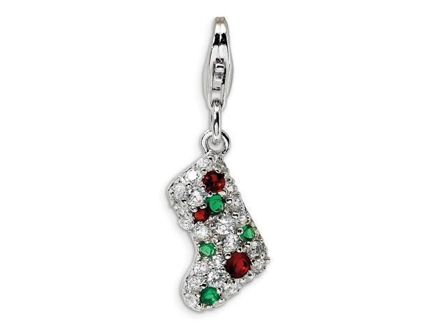 Sterling Silver Rhodium Plated Mulitcolor Synthetic CZ Stocking with Lobster Clasp Charm (0.6IN long x 0.4IN wide)