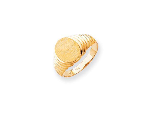 14k Yellow Gold Engravable Men's Signet Ring (10.1mm x 9.5mm face)