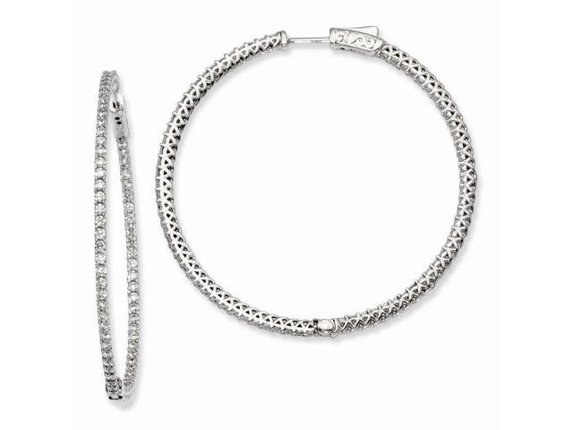 Sterling Silver Rhodium Plated with Synthetic CZ 1.8IN Hinged Hoop Earrings (1.7IN x 1.8IN )