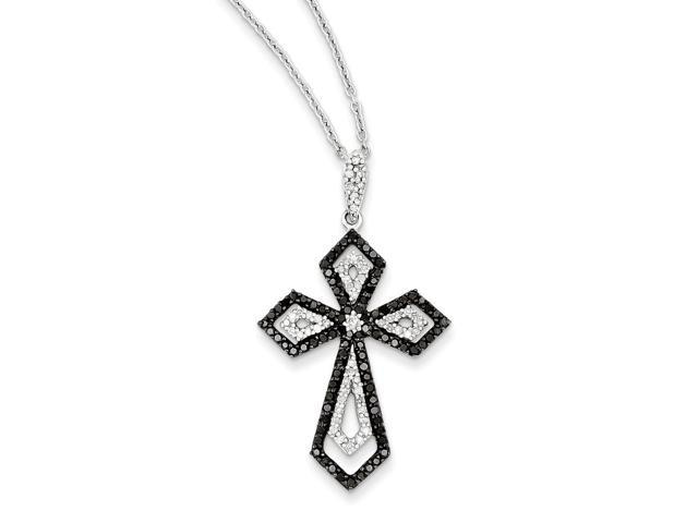 Sterling Silver Rhodium Plated Black and White Diamond Cross Pendant. Total Carat Wt- 0.75ct.