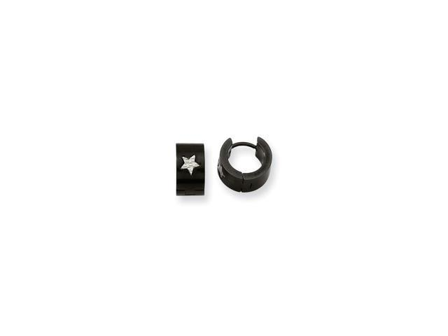 Stainless Steel Black IP-plated Star 0.2IN Hinged Hoop Earrings (0.5IN x 0.2IN )
