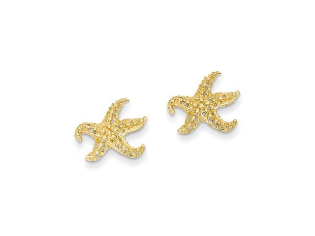 14k Yellow Gold Starfish Post Earrings (0.5IN x 0.4IN )