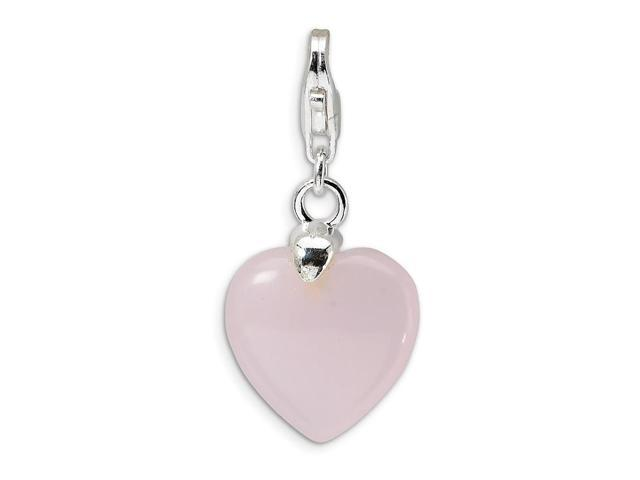 Sterling Silver Rhodium Plated Rose de France Pink Quartz Heart with Lobster Clasp Charm (0.6in)
