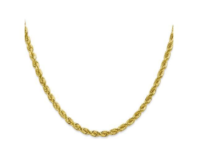10k Yellow Gold 7in 4mm Handmade D/C Rope Chain Bracelet