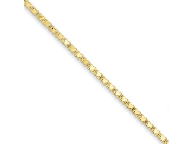 14k Yellow Gold 10in Polished Double-Sided Heart Anklet