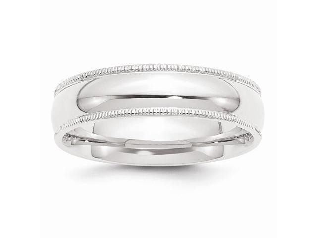 950 Platinum 6mm Comfort-Fit Milgrain Wedding Engravable Band