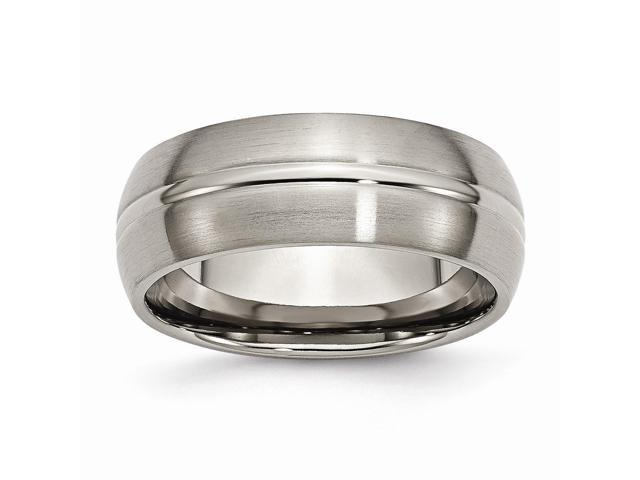 Titanium Grooved 8mm Brushed and Polished Engravable Band