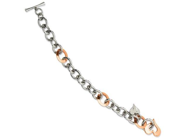 Stainless Steel Polished Open Link & 14k Rose Gold Plated w/ Hearts 7.5in Bracelet.