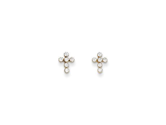 14k Yellow Gold Childs Synthetic CZ Cross Post Earrings w/ Gift Box (9MM Long x 7MM Wide)