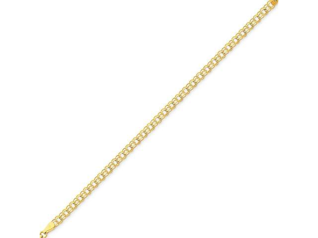 14k Yellow Gold 7in Double Link Charm Bracelet