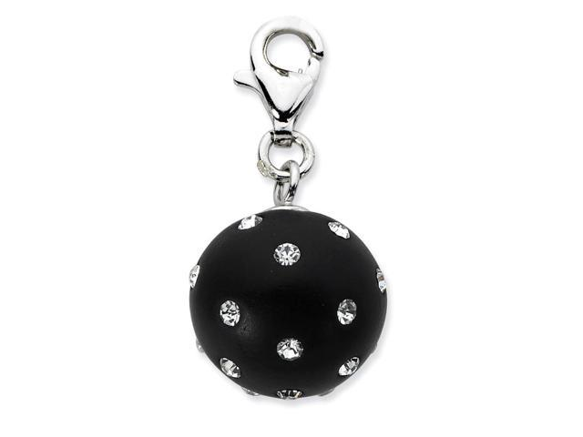 Sterling Silver Rhodium Plated Click-on Black Ferido & Crystal Ball Charm (0.9IN long x 0.5IN wide)