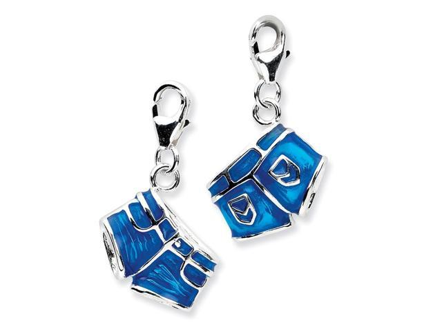 Sterling Silver Rhodium Plated 3-D Enameled Jean Shortswith Lobster Clasp Charm (0.4IN long x 0.5IN wide)