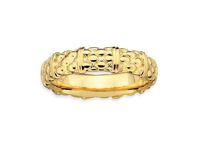 Sophistication of Silver Stackable 18k Gold-Plated Band