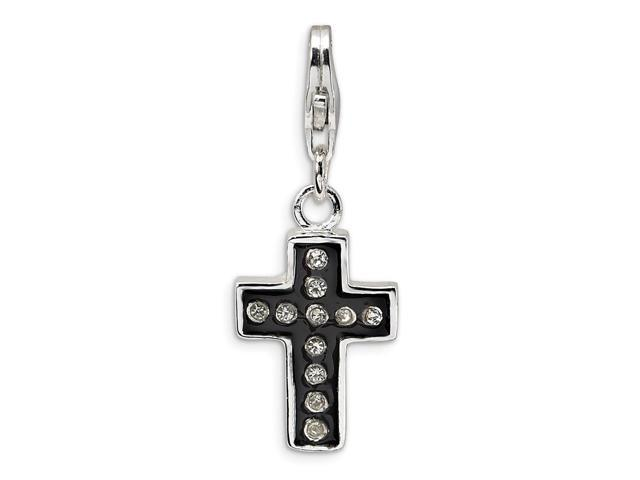 Sterling Silver Rhodium Plated Swarovski Crystal & Enamel Cross with Lob. Clasp Charm (0.6IN long x 0.4IN wide)