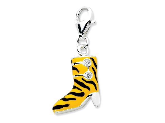 Sterling Silver Rhodium Plated Click-on Synthetic CZ Enamel Tiger High Heel Boot Charm (1.1in long)