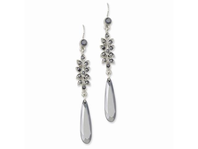 Black-plated Hematite Dangle Earrings