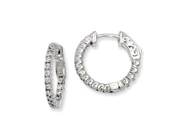 Sterling Silver Rhodium Plated with Synthetic CZ 0.6IN Hinged Hoop Earrings (0.6IN x 0.7IN )