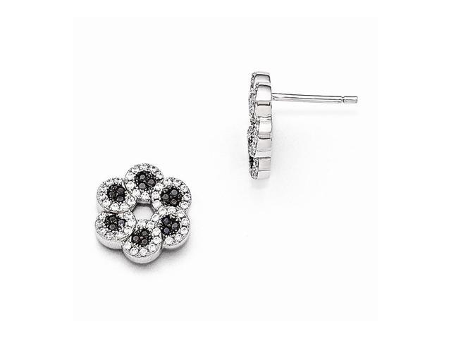 Sterling Silver Rhodium Plated & Synthetic CZ Brilliant Embers Black Flower Post Earrings (0.5IN x 0.5IN )