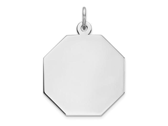 Sterling Silver Engravable Octagon Disc Charm (0.8in)