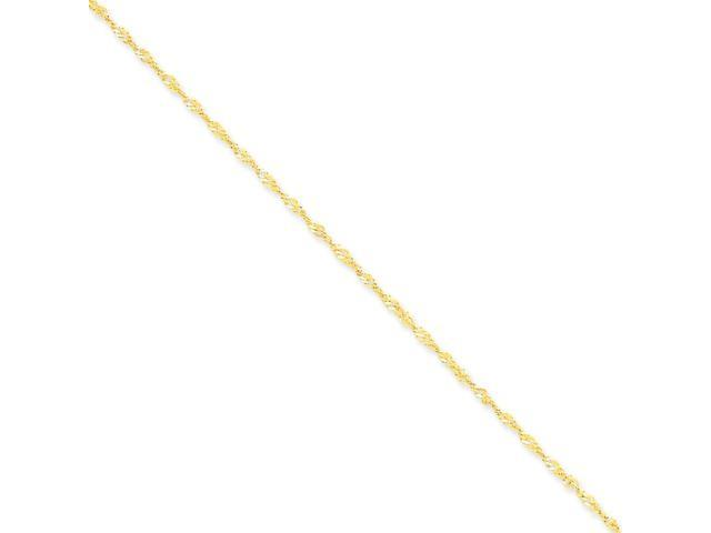 14k Yellow Gold 10in 1.70mm Singapore Anklet Chain