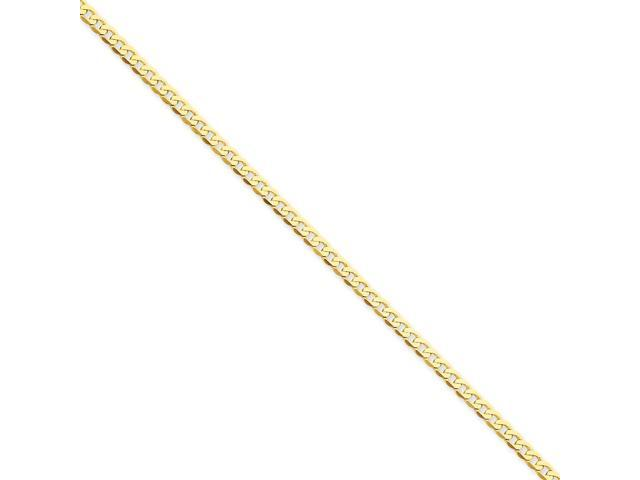 14k Yellow Gold 8in 2.4mm Flat Beveled Men's Curb Chain Bracelet
