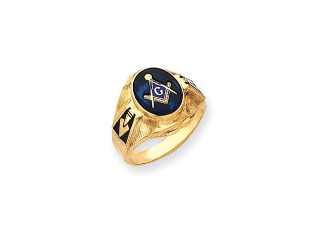 14k Yellow Gold Simulated Blue Spinel Men's Masonic Ring