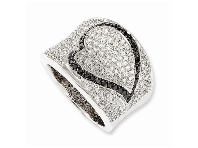 Sterling Silver Polished & Synthetic CZ Embers Heart Ring