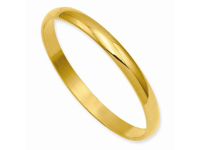 7in 14k Gold Plated Engravable Polished Baby Slip-On Bangle/Lovely Leatherrete w/ Gift Box