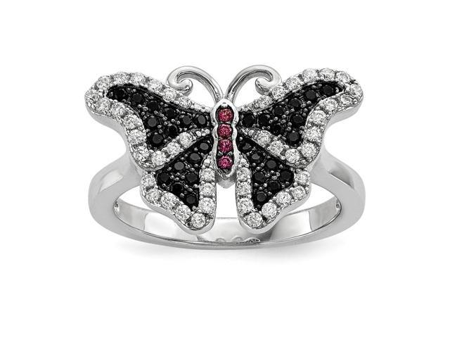 Sterling Silver Rhodium Plated & Synthetic CZ Embers Butterfly Ring